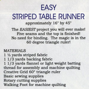 Pattern Back - Easy Striped Table Runner