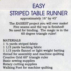 Pattern Back - Easy Striped Table Runner