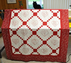 REDWORK HEARTS - 57 inches square