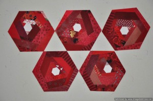 Red Scrappy Hexie Blocks