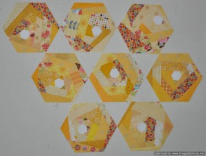 Yellow Scrappy Hexie Blocks