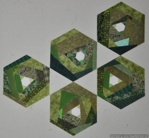 Green Scrappy Hexie Blocks